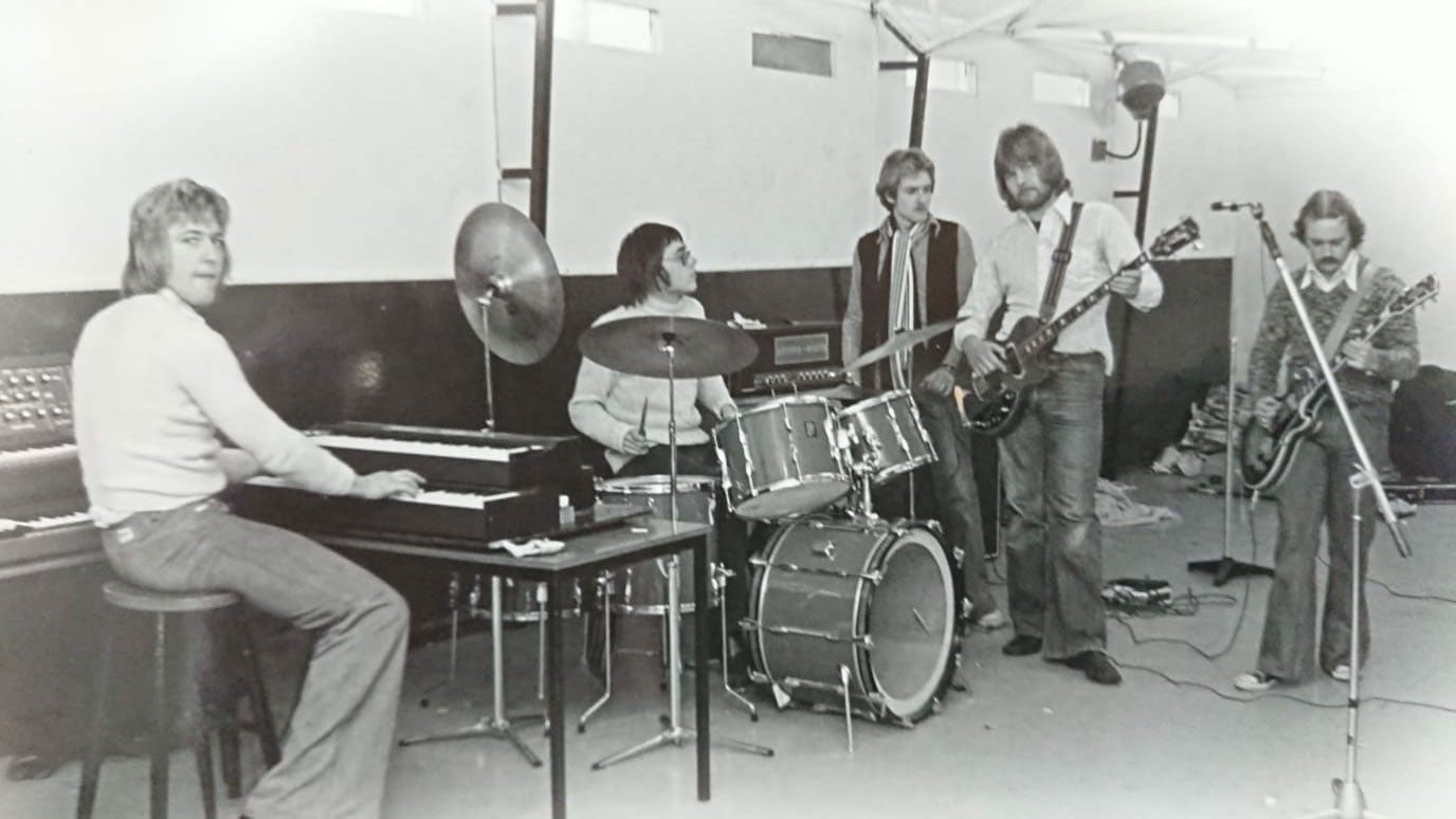 Taken at a FTF Rehearsal in Stanmore , Middx, circa 1975/6. L-R: Phil, Kim, Keith, Ray, Paul.