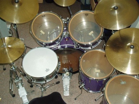 Kim bought the basic four-drum kit set up in 1974